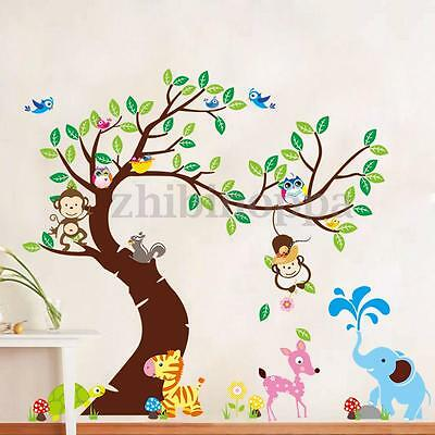 Monkey Owl Birds Tree Removable Vinyl Stickers Wall Decal Decor Kid Room Home