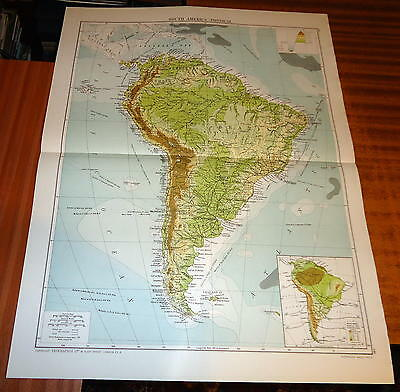 Large 'VICTORY' MAP ~ SOUTH AMERICA - PHYSICAL ~ 1919 Alexander GROSS