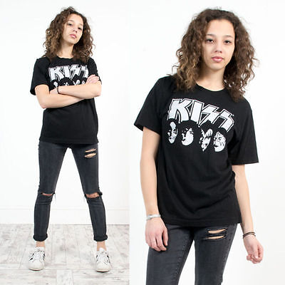 Kiss Rock Band T-Shirt Top Oversize Gene Simmons Black Crew Neck Short Sleeve 10