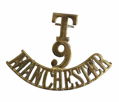 Ww1 The T.9 Manchester Shoulder Title Brass Metal