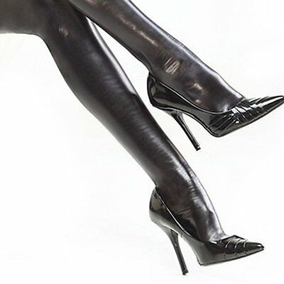 Sexy Women Girls'  Faux Leather PVC  Thigh High Shining Stockings Wet Look BDSM
