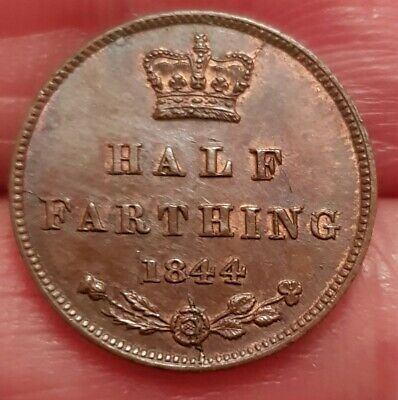 Excellent 1844 Victoria Half Farthing About Uncirculated Hints Of Lustre