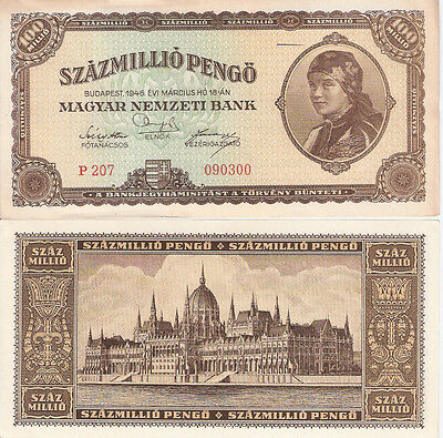 HUNGARY 100000000 Pengo Banknote World Paper Money Currency p124 VF+ BILL note