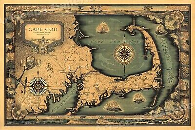 Cape Cod 1930's Decorative Historic Map - 16x24