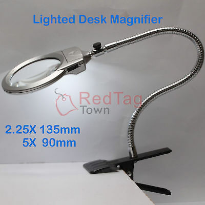 Large Lens Lighted Lamp Top Desk Magnifier Magnifying Glass With Clamp LED Light