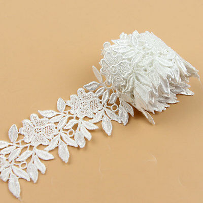 2 Yards  White Embroidered Net Lace Trim Ribbon Handicrafts DIY Sewing Craft