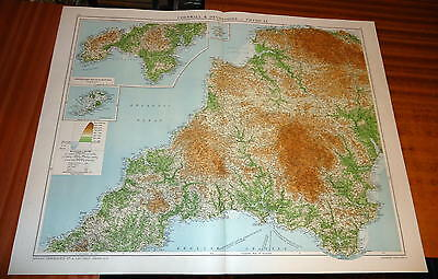 Large 'VICTORY' MAP ~ CORNWALL AND DEVONSHIRE ~ 1919 Alexander GROSS