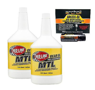 2 x Red Line MTL Synchromesh GL-4 Manual Gearbox Oil Fluid 75W80, Acura, Ford