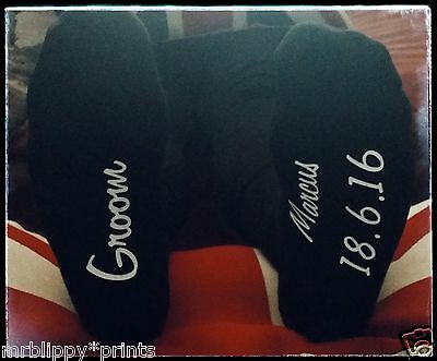 Personalised Printed Wedding Socks Text printed on sole, can print any text.