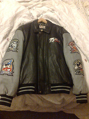 Walt Disney Mickey Mouse 75Th Anniversary Leather Sports Jacket Unworn Large New