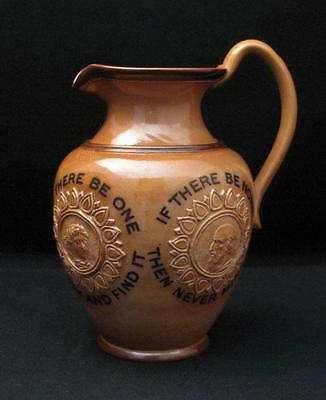 Antique Victorian Doulton Lambeth England Stoneware Motto Jug Pitcher 7629