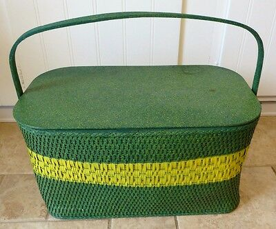 Vintage Wood Woven Picnic Basket Metal Divided Insert Tray, flatware, Gothamware
