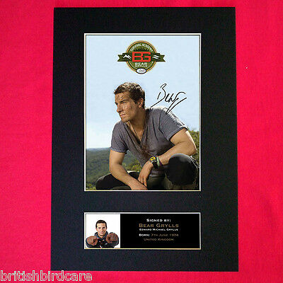 BEAR GRYLLS Mounted Signed Photo Reproduction Autograph Print A4 342