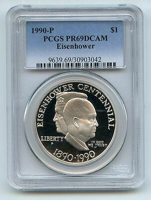 1990 P $1 Eisenhower Silver Commemorative Dollar PCGS PR69DCAM