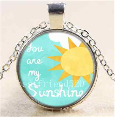 You are My Sunshine Cabochon Glass Tibet Silver Chain Pendant Necklace