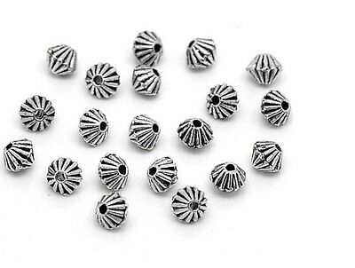 100 Antique Silver Bicone 4mm Spacer Beads For Jewellery Making BUY 3 FOR 2