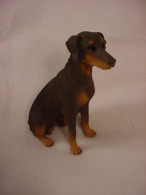 DOBERMAN PINSCHER FIGURINE dog HAND PAINTED COLLECTIBLE RED BROWN UNCROPPED new