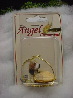 BASSET Hound DOG ANGEL ORNAMENT resin Figurine COLLECTIBLE Christmas puppy
