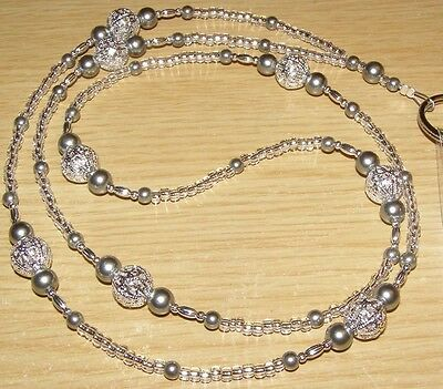 Silver & Pewter Glass Pearl Beaded ID Lanyard Badge Tag Holder - Great Gift!