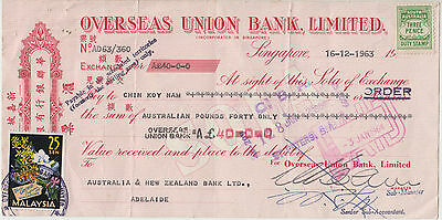 Overses Union Bank Singapore 1963 Bill of Exchange South Australia 3d stamp duty