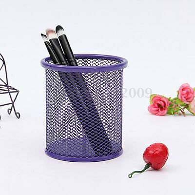 Mesh Metal Pencil Organizer Storage Office Desk Pen Holder Containers Purple