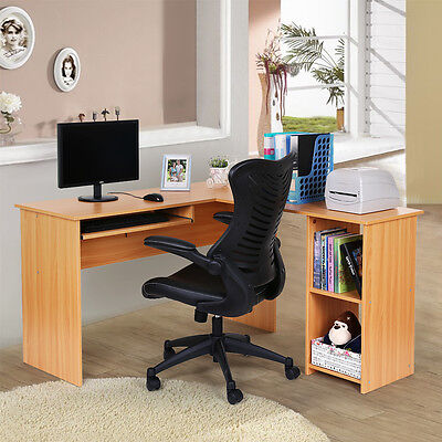 Songmics Red Beech Corner Computer Desk PC Table Furniture Workstation LCD810R