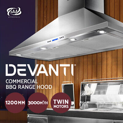 Rangehood BBQ Commercial Range Hood Alfresco Canopy Kitchen Stainless 1200MM