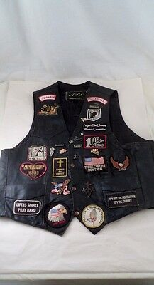 ATL Leather Motorcycle American Christian Biker MC Vest w/ 37 Patches Pins Sz 50
