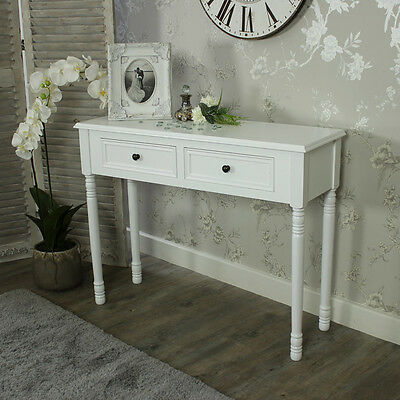 White Wooden Console Table Dressing Table Drawer Shabby French Chic Bedroom Hall