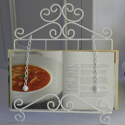 White recipe book holder i pad table stand shabby vintage chic kitchen home