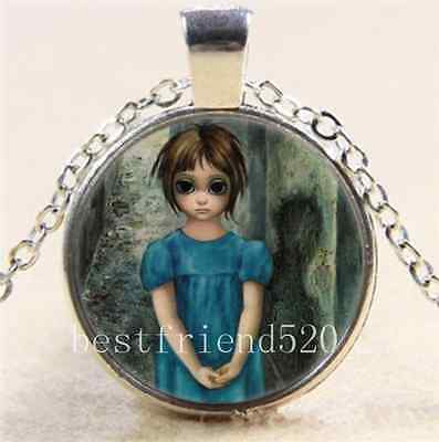 Keane Big Eye Cabochon Glass Tibet Silver Chain Pendant  Necklace