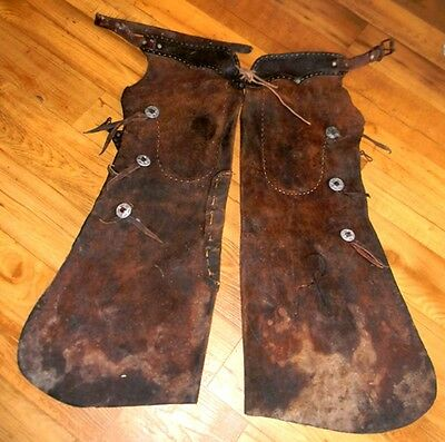 Vintage Old West Hand Stitched Rawhide Leather Chaps w Pocket & Knot Fasteners