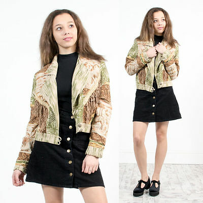 Vintage Tassel Safari Pattern Jacket Cropped Unusual Blazer Tribal Style 80's 14