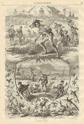 Opening Day Of Hunting Season, Humor, Vintage 1872 French Antique Art Print,