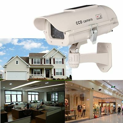 Solar Power Dummy Home Outdoor Dome Fake Security Surveillance LED Light Camera