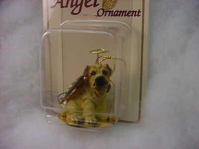 SHAR PEI dog ANGEL Ornament Figurine Statue NEW Christmas CREAM SHARPEI puppy