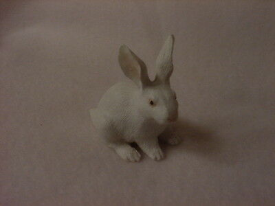 RABBIT Figurine TiNY ANIMAL white bunny HAND PAINTED MINIATURE Collectible Farm