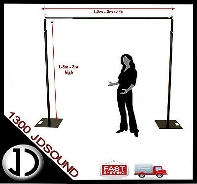3x3m Black Pipe and Drape support system adjustable backdrop photography stand