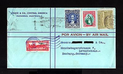 7778-GUATEMALA-AIRMAIL COVER GUATEMALA to HAMBURG (germany) 1935.WWII.Aerien.