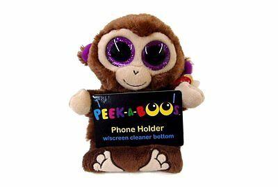 Chimps The Monkey Peek - A - Boo Ty Beanie Phone Holder With Screen Cleaner
