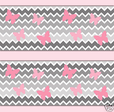 Grey Gray Ombre Chevron Wallpaper Border Wall Decal Girl Pink Butterfly Sticker