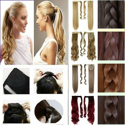 Wrap Around Ponytail Clip in Hair Extensions Wig Curly Straight Black Brown SN73