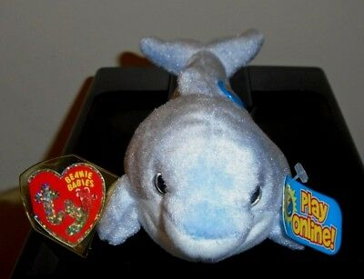 Ty Beanie Baby BB 2.0 ~ CLIPPER the Dolphin ~ MINT with MINT TAGS Stuffed Animal