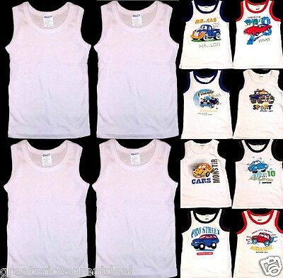 4pk Boys Tank Top WHITE DESIGNS MGM Undershirts Infant Toddler Kids Underwear