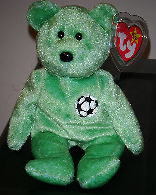 Ty Beanie Baby ~ KICKS the Soccer Bear  ~ MINT with MINT TAGS ~ RETIRED