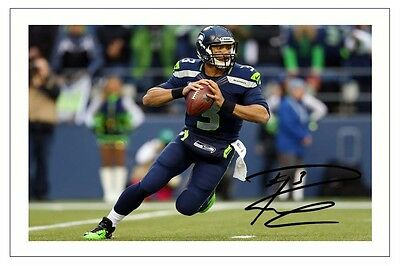 Russell Wilson Seattle Seahawks Signed Photo Autograph Print Nfl Football