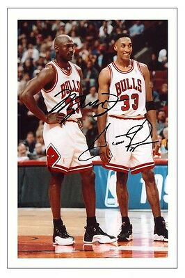 Michael Jordan & Scottie Pippen Chicago Bulls Signed Photo Print Basketball