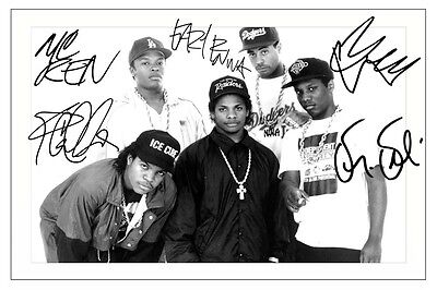 Nwa Fully Signed Photo Print Autograph Ice Cube Dr Dre Eazy-E Yella Mc Ren