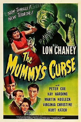 """1940s """"The Mummy's Curse"""" Classic Scary Monster Movie Poster - 16x24"""