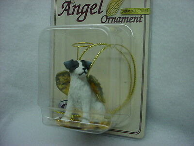 JACK RUSSELL black white Rough Dog ANGEL Ornament Figurine NEW Christmas puppy